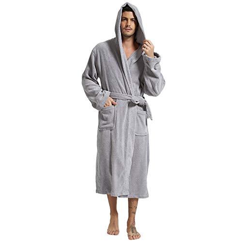 Mens Hooded Terry Cloth Bathrobe Cotton Kimono Spa Robe Solid Color with Pockets (Hooded Gray,Medium)