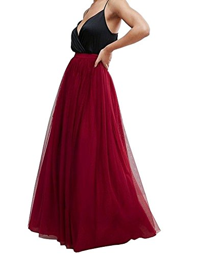 Mesh Full Skirt - Uswear Women Wedding Long Tulle Skirt Dress Bridal Bridesmaids Floor Length High Waisted Maxi Tutu Party Dress