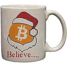 "Bitcoin Logo W/ Santa Hat ""Believe"" 11 Ounce Ceramic Coffee Mug"