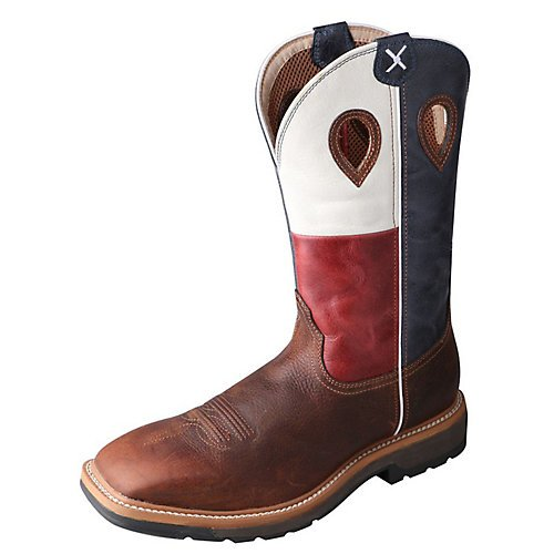 9.5 X 9.5 Square - Twisted X Men's Lite Texas Flag Pull-On Work Boot Square Toe Brown 9.5 D(M) US