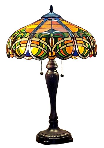 Amora Lighting Tiffany Style AM1071TL16 Baroque Table Lamp, Multi Color