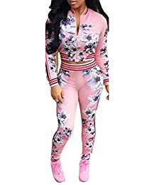 Women's Floral Zip Up 2 Piece Set Tracksuit Sports Joggers Jacket Suit Pink M