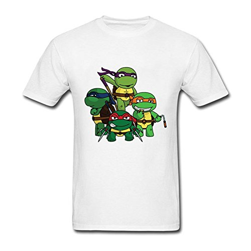 Stylish Men's Chibi Teenage Mutant Ninja Turtles O-Neck Short Sleeve T Shirt White XXL Costume (Space Jam Costumes)