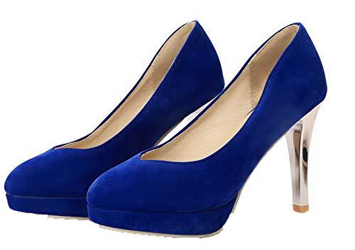 Azzurro Pelle Puro GMMDB006169 Alto di AgooLar Mucca Tacco Donna Flats Ballet vZwEnHA