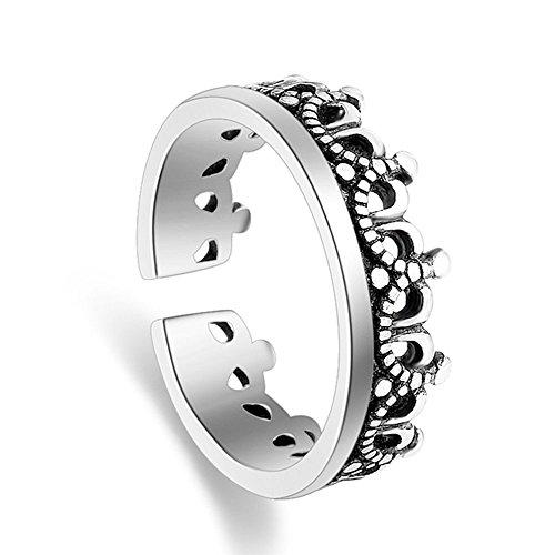 Victoria Echo 925 Silver Retro Black Crown Rings Open rings Adjustable - Aquamarine Large Echo Art