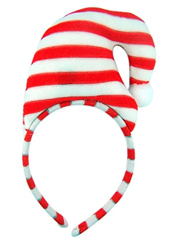Santa's Elfs Red and White Strips Christmas Hat Holiday Party Headband