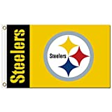 New Pittsburgh Steelers Flag, Steelers Flag, Five Star Flags, Flag for Indoor or Outdoor Use, 100% Polyester, 3 x 5 Feet.