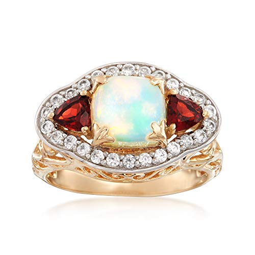 (Ross-Simons Opal and 1.20 ct. t.w. Multi-Stone Ring in 14kt Yellow Gold)