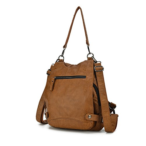 Shoulder Security Artwell Bag Capacity Brown Leather Ladies Large Backpack Washed Rucksack Purse Women Crossbody Convertible vrv7O