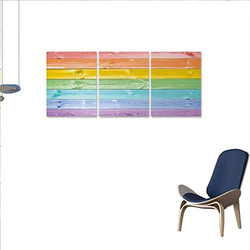 """Anniutwo Pastel Canvas Wall Art Bedroom Home Decorations Wooden Planks in Rainbow Colors Rural Rustic Home Cottage Theme Summer Shades Print Artwork Wall Decor 24""""x48""""x3pcs Multicolor"""