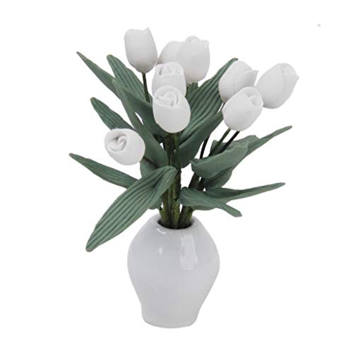 (Agordo Dollhouse Miniature Home Garden Accs Tulips Flower Plant w Ceramics Pot 1:12)