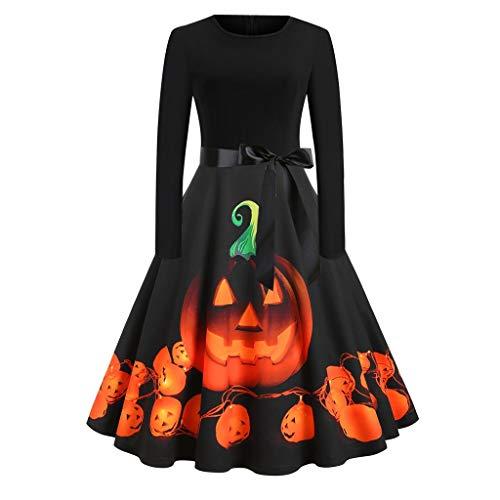 Homemade Girl Firefighter Halloween Costumes (KLFGJ Halloween Costume Women Vintage Long Sleeve Pumpkin Gown Party Swing Mini)