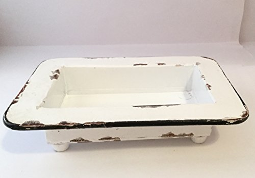 Vintage Style White Painted Cafe Soap Dish Soap Dish with Drainage Hole Distressed White Vintage Paint Country Cabin Farmhouse Log Home or Stylish Rustic Decor