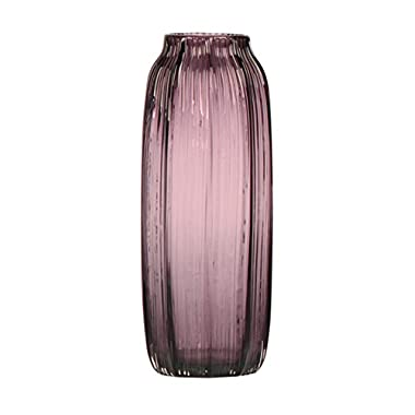 [Off to College] CASAMOTION Ribbed Hand Blown Solid Color Art Glass Vase, Gift Box, Violet, 12 Inches