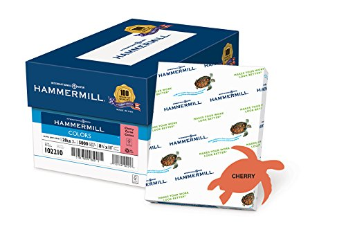 Cherry Laser Paper - Hammermill Paper, Colors Cherry, 20lb., 8.5x11, Letter, 5000 Sheets / 10 Ream Case, (102210C), Made In The USA