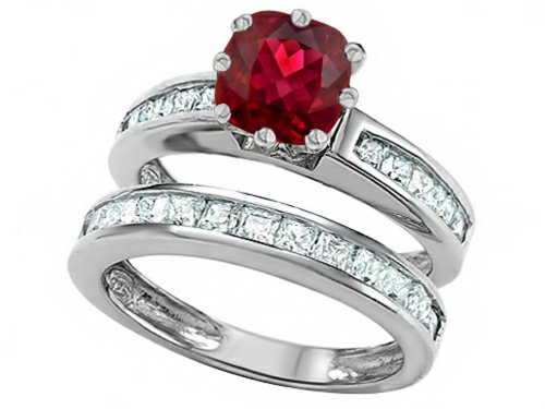 Star K Cushion-Cut 7mm Created Ruby Wedding Set Size 5