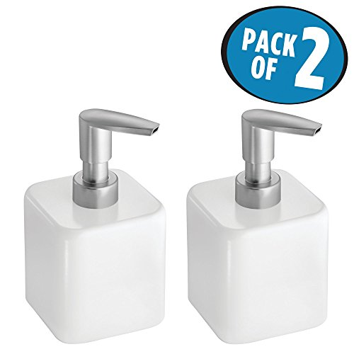 mDesign Liquid Hand Soap Dispenser Pump Bottle for Kitchen, Bathroom | Also Can be Used for Hand Lotion & Essential Oils - Pack of 2, Short, White - Nickel Matte Toothbrush Holder