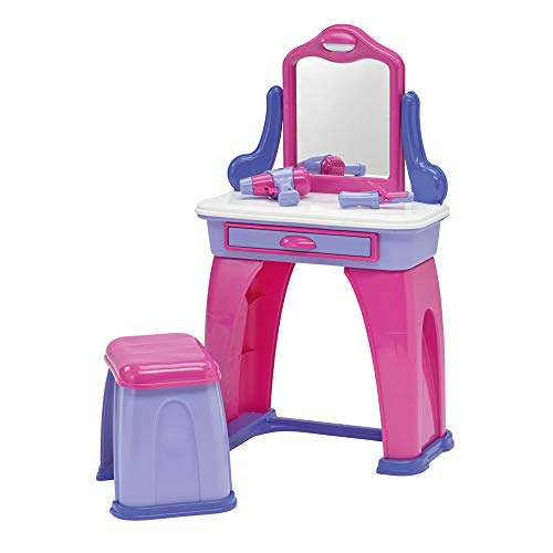 American Plastic Toys My Very Own Vanity Play Set with Accessories Include Comb, three Hair Accessories, Cell Phone, Curling Iron, Hair Dryer and a Colorful Label Sheet