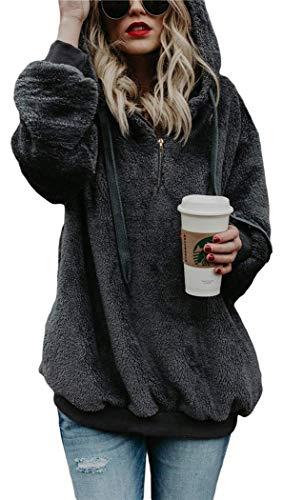 Casual Oversized Long Sleeve Loose Sweatshirt Pockets Outwear deep gray l ()