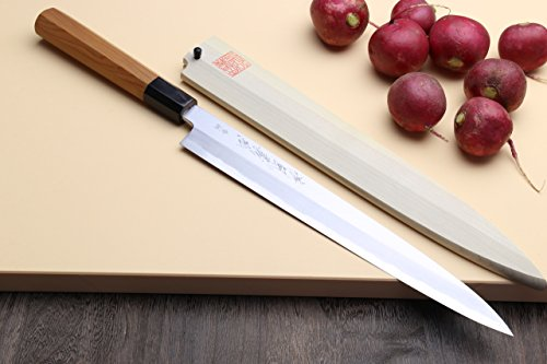 Yoshihiro High Carbon Blue Steel1 Aonamiuchi Yanagi Sashimi Sushi Japanese Chef's Knife: 11.8inch(300mm)with Yew Handle by Yoshihiro