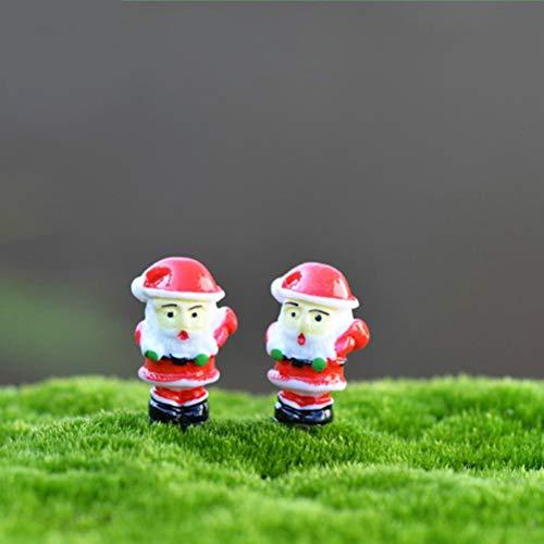 Bestchoice - 3Pcs Christmas Decoration Santa Claus Miniature Figurine Fairy Garden Ornament Building Statue Love Gift Resin Craft Toy Navidad