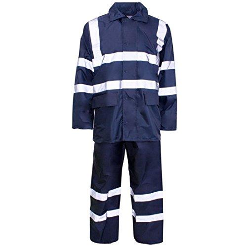 Safety Rainwear - Rimi Hanger High Visibility PVC Rainwear Rain Suit Adult Work Wear Reflective Safety Dress Navy Blue XXXX Large
