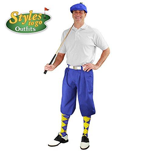 メンズゴルフOutfit – ロイヤル、ホワイト、&イエローゴルフKnicker Complete Outfit