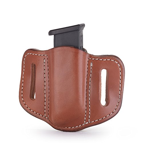 1791 GUNLEATHER Single Mag Holster for Double Stack Mags, OWB Magazine Pouch for Belts Available in Stealth Black, Classic Brown, Black & Brown and Signature Brown (Best Owb Magazine Holster)