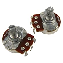Musiclily Guitar Full Size Pots A500K Split Knurled Short 15mm Shaft Audio Volume Taper Potentiometers for Stratocaster and Telecaster Electric Guitar Bass Parts (Pack of 2)