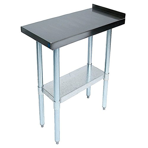 John Boos EFT8-3024 Stainless Steel 430 Riser Top Filler Table, 1.5'' Turn Up with Adjustable Undershelf, 24'' Length x 30'' Width by John Boos
