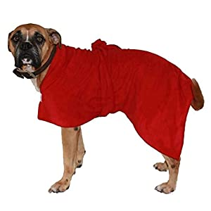 Toby and Alexander Super Absorbant, Quick Drying, Dog Bath Robe (M, Red)