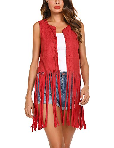 Hotouch Women Open-Front Faux Suede Sleeveless Tassels Vest Cardigan Female]()