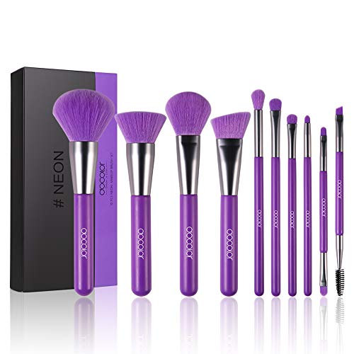 Docolor Makeup Brushes 10 Piece Neon Purple Makeup Brush Set Premium Synthetic Kabuki Foundation Blending Face Powder Mineral Eyeshadow Make Up Brushes Set