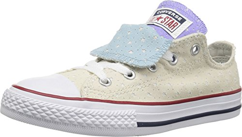 Converse Youth CTAS Double Tongue Ox Canvas Driftwood Twilight Pulse White Trainers 4 US Double Tongue Ox Shoes