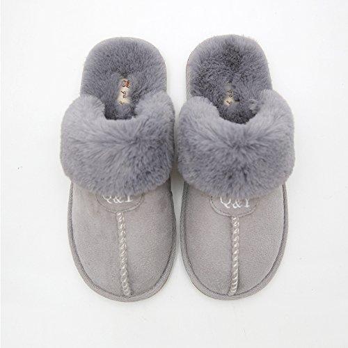 Inverno fankou coppie di cotone felpato pantofole maschio pacchetto ladies con fondo spesso indoor antiscivolo home caldo scarpe invernali, 42-43 (per 41-42 metri), grigio
