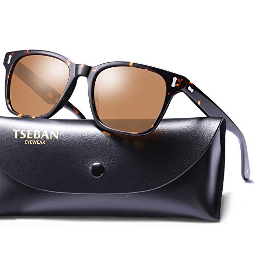 T.SEBAN Vintage Polarized Sunglasses for Men Retro Style Acetate Frame UV400 Protection (Arms Mens Sunglasses)