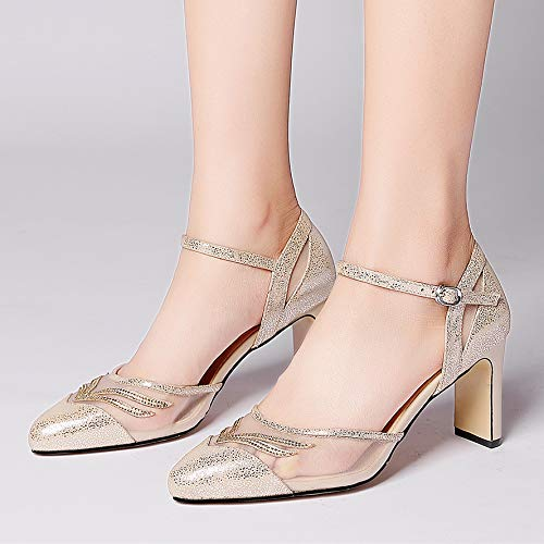 High With Heeled Golden Sharp With SFSYDDY Pointed Sandals Summer Shoes Sheepskin A Genuine Leather Head A Women'S Drill qBcpCw4