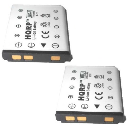 HQRP Two Batteries for Pentax Optio T30, M40, M30, W30, V10, L36 Digital Camera Replacement Plus HQRP Coaster