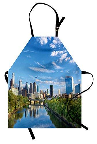 Lunarable USA Apron, Schuylkill River in Philadelphia Pennsylvania United States Foliage Bushes Greenery, Unisex Kitchen Bib Apron with Adjustable Neck for Cooking Baking Gardening, Tan Blue (Bush Bib)