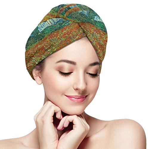 Poppy Field by Van Gogh Women Microfiber Quick Dry Hair Towel Soft Absorbent Shower Hat Black
