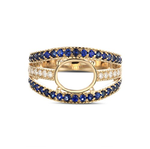 GOWE 7x9mm Oval Cut 14kt Yellow Gold Pave 0.69ctw Diamond & Sapphire Semi Mount Ring