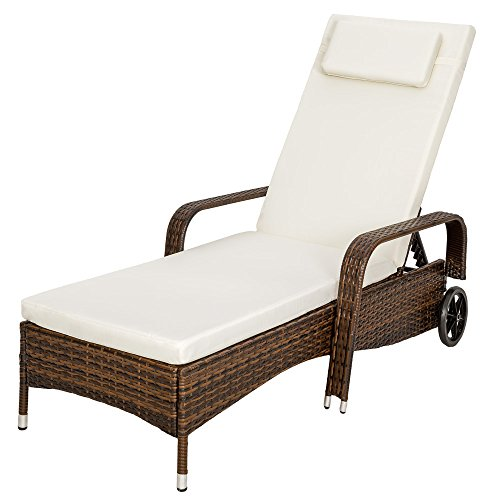 TecTake Rattan day bed sun canopy lounger recliner garden furniture patio terrace - different colours - (Multi)