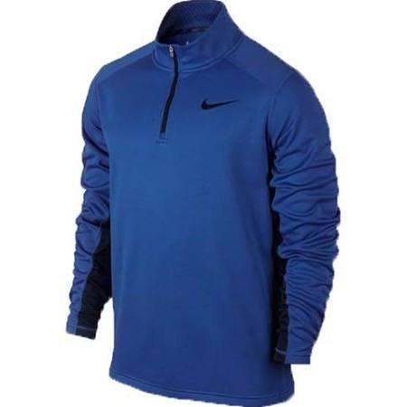 Nike Men Polyester Fleece Zip Top Lng Sleeve 717397 Large Blue