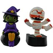 Solar Powered Halloween Bundle Set of 2 Moving Dancing Halloween Figures Bewitching Witch and Karate Kick Mummy