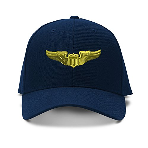 Pilot Gold Embroidery Adjustable Structured Baseball Hat Navy