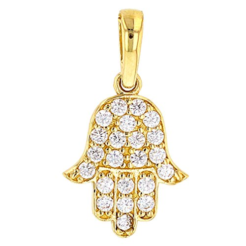 Solid 14K Gold Hamsa Hand of Fatima with Cubic Zirconia Charm Pendant