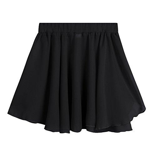 Freebily Kids Girls Dance Basic Classic Chiffon Mini Pull-On Wrap Skirt Black 7-8 by Freebily (Image #4)