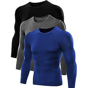Neleus Men's Dry Fit Athletic Shirts 3 Pack,5021,Blue,Black,Grey,US XL,EU 2XL