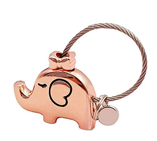 Tmrow 1Pc Fantastic Kissing Elephants Couples Keychain Valentine's Gift,Rose Gold ()