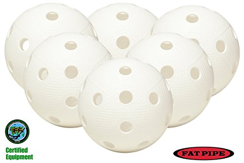 FAT PIPE Floorball / Unihockey Ball 6er Set, weiß